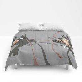 Great Tits Bird Ribbon Grey Comforters