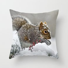 Snowy Squirrel Throw Pillow