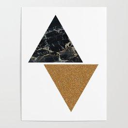 Dark marble and bronze geo Poster