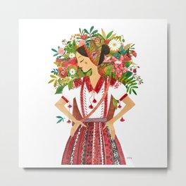 Folk Flower Girl Metal Print