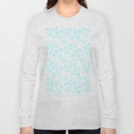 Hand painted watercolor teal polka dots floral pattern Long Sleeve T-shirt