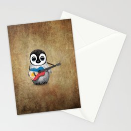 Baby Penguin Playing Filipino Flag Acoustic Guitar Stationery Cards