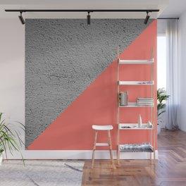 Geometrical Color Block Diagonal Concrete vs coral Wall Mural