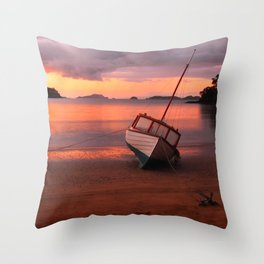 Beached yacht Throw Pillow