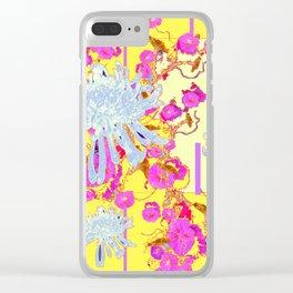 Modern Yellow Art White Spider Mums Pink Flowers Garden Art Clear iPhone Case