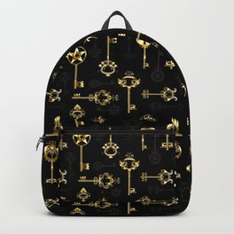 Seamless Pattern with Golden Keys Backpack
