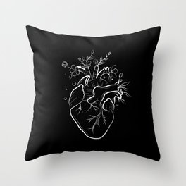 Human heart with flowers black Throw Pillow