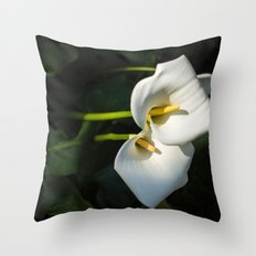 Close-up of Giant White Calla Lily Throw Pillow
