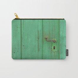 Rusty Door Handle On Green Door Carry-All Pouch
