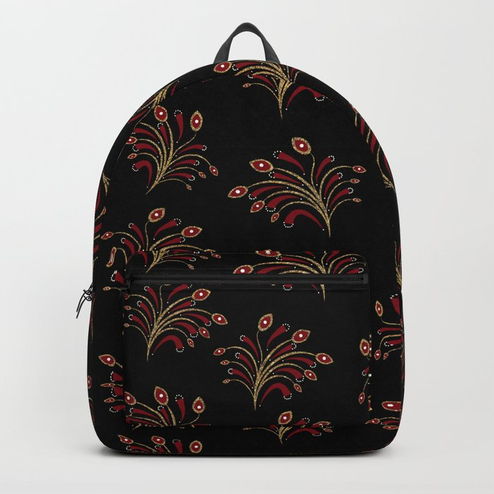 Golden red ornament seamless pattern Backpack
