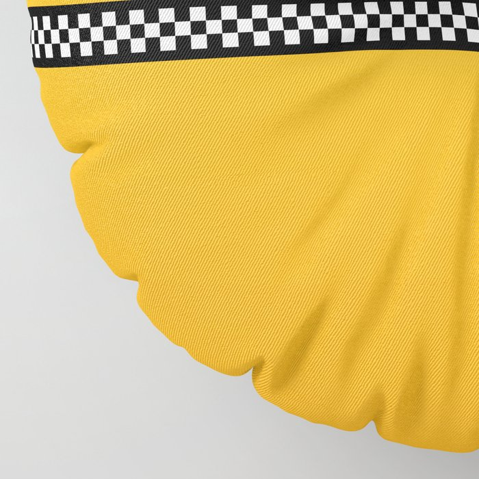NY Taxi Cab Yellow with Black and White Check Band Floor Pillow