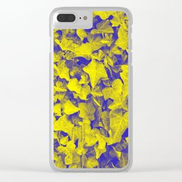 YELLOW BLUE IVY Clear iPhone Case