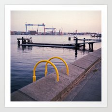 Northern Harbour: Yellow Art Print