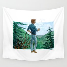 looking over the mountains Wall Tapestry