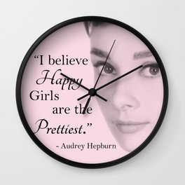 Happy Girls - Pink - With Audrey Wall Clock