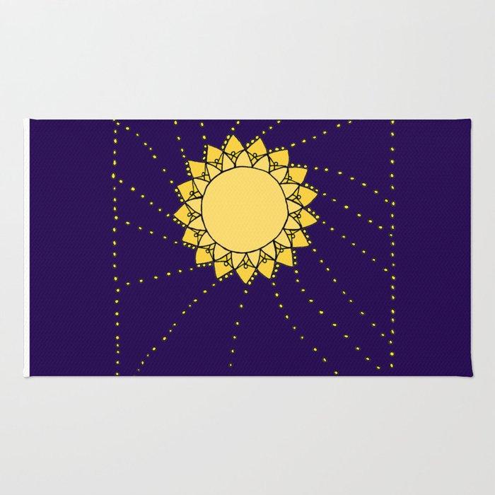 Celestial Swirling Sun Boho Mandala Hand-drawn Illustration Rug