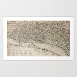 19th Century Topographical Vintage Antique Map Calcutta India Steampunk Art Print