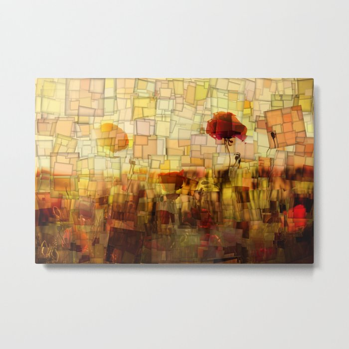 Poppies in the Sun Mosaic Metal Print