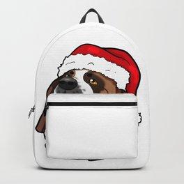 St. Bernard Saint Dog Christmas Hat Present Backpack