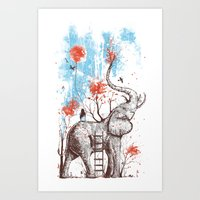 woman Art Prints featuring A Happy Place by Norman Duenas