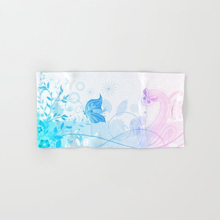Pastel Blue Pink Flowers Erflies Hand Bath Towel By Artonwear Society6