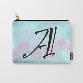 Pink Gerbera Daisy Initial Design Carry-All Pouch