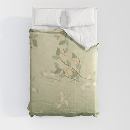 Sage Green Watercolor Woodland Leaves Comforters