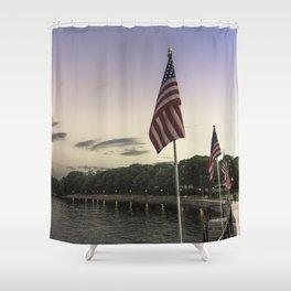Boulevard summer sundown Shower Curtain