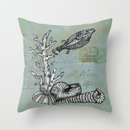 Vintage Shells Throw Pillow