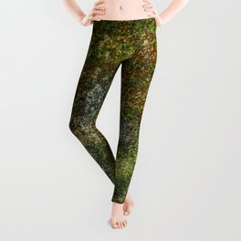 Old stone wall with moss Leggings