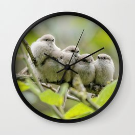 Heartwarming Family Portrait: Five Bushtit Brothers Wall Clock
