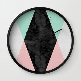 Watercolor of lozenges Wall Clock