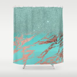 Modern Rose Gold Teal Marble Glitter Gradient Shower Curtain