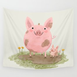 Piggies in a Mud Puddle Wall Tapestry