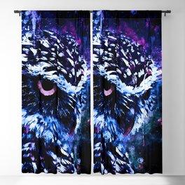 burrowing owl splatter watercolor cool blue Blackout Curtain