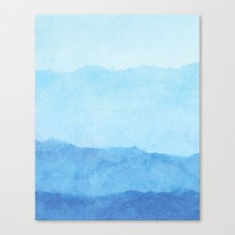 Ombre Waves in Blue Canvas Print