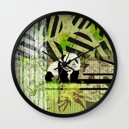 Panda Cub  Abstract vintage pop art composition Wall Clock