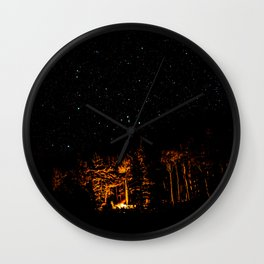 Campfire on a Starry Night Wall Clock