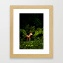 A Small Brown Horse in the Valley Framed Art Print