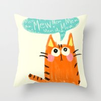 mew Throw Pillows featuring mew. by TangerineCafé