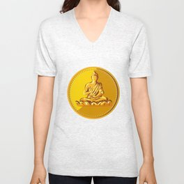 Buddha Gold Coin Medallion Retro Unisex V-Neck