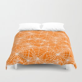 Pumpkin Cobwebs Duvet Cover