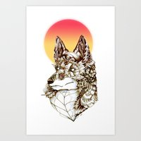 kitsune Art Prints featuring Kitsune by South Spire Seven