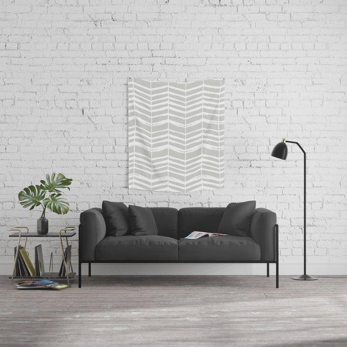 Herringbone (Light Grey & White) Wall Tapestry