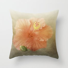 Warm Hibiscus Throw Pillow