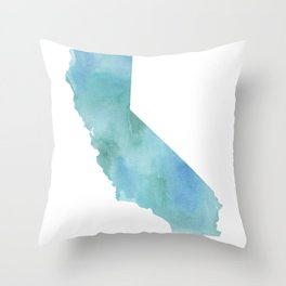 Watercolor State Map - California CA blue green Throw Pillow