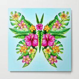 Butterfly Of Tropical Summer Flowers Metal Print