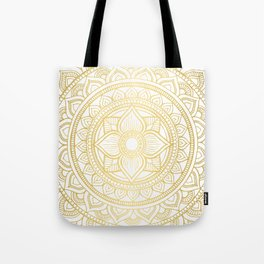 Hand Drawn Gold Bali Mandala Tote Bag
