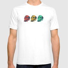 Skulls - red, yellow and green White Mens Fitted Tee SMALL