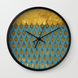 Blue and Gold Mermaid Scales Dreams Wall Clock